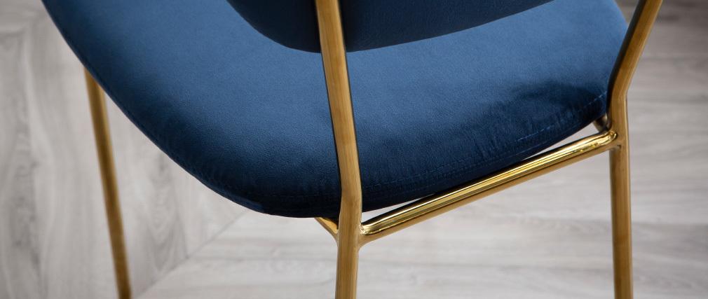 Sillas  modernas en terciopelo azul y estructura en metal dorado - lote de 2 LEPIDUS
