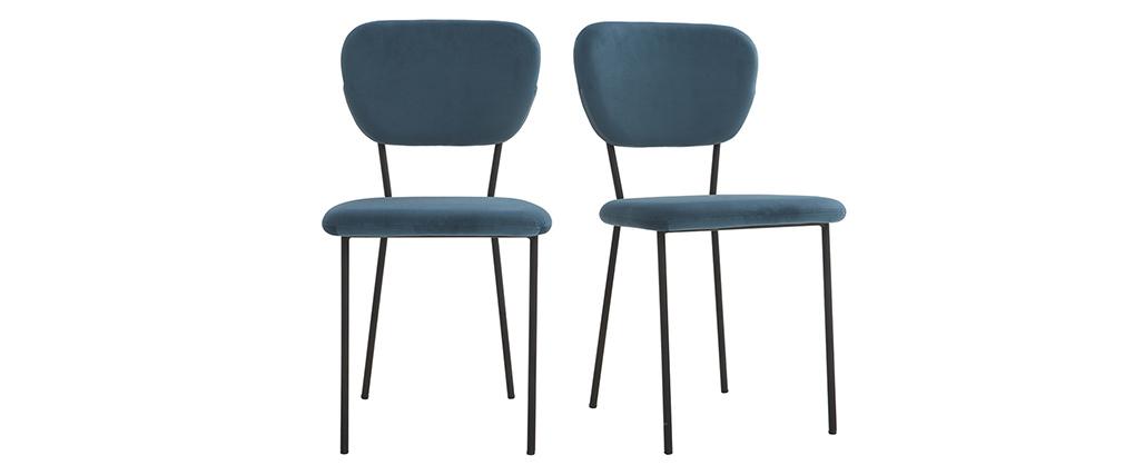 Sillas modernas en terciopelo azul y estructura en metal negro - lote de 2 LEPIDUS