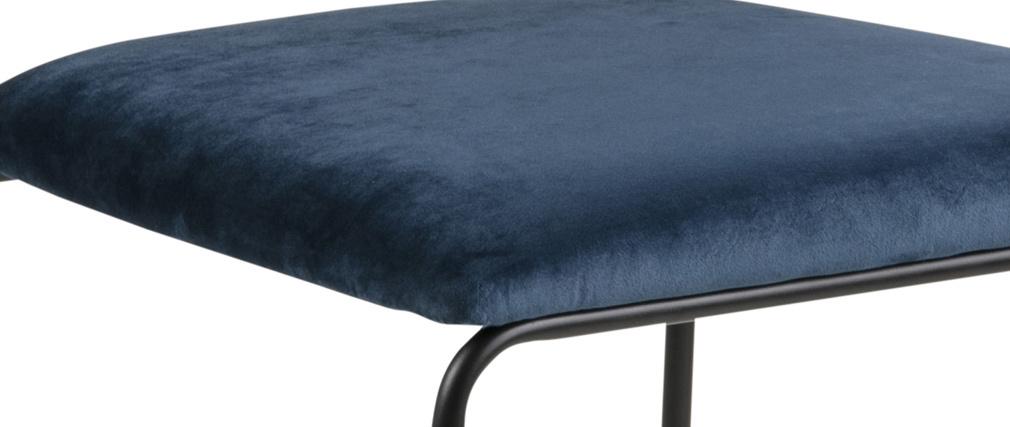 Sillas modernas en terciopelo azul y metal (lote de 2) FLORE