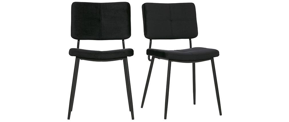 Sillas modernas en terciopelo negro (lote de 2) GAB