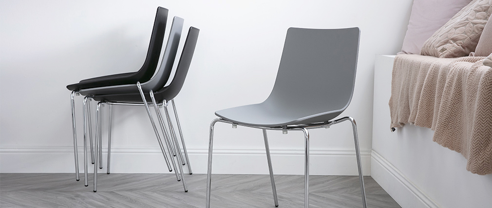 Sillas modernas grises apilables con patas en metal - lote de 2 CELEBRATION