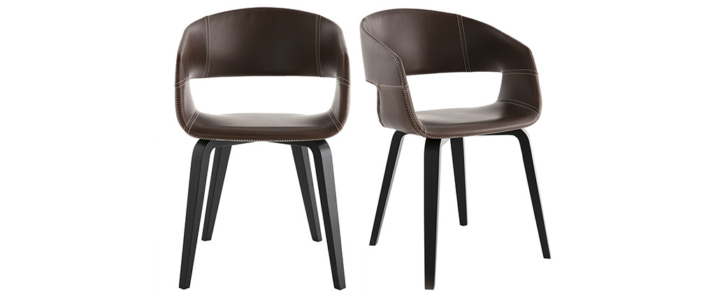 Sillas modernas marrón claro patas madera (lote de 2) SLAM