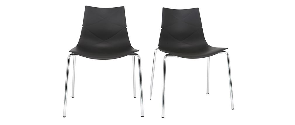 Sillas modernas negras apilables con motivo gráfico y patas metal - lote de 2 GUSTO