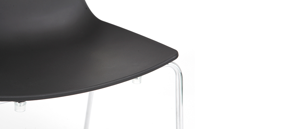 Sillas modernas negras apilables con patas en metal - lote de 2 CELEBRATION