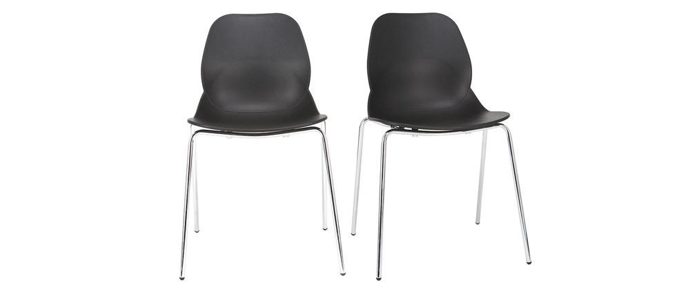 Sillas modernas negras apilables con patas metal - lote de 2 TROCADERO