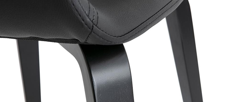 Sillas modernas negras patas madera (lote de 2) SLAM