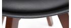 Sillas negras con patas madera oscura (lote de 2) PAULINE