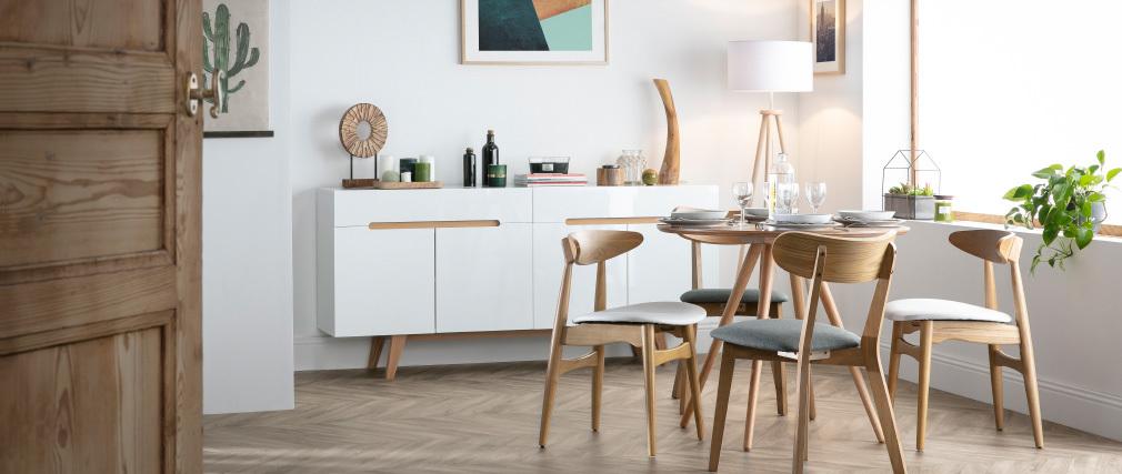 Sillas nórdicas madera clara y blanco (lote de 2) WALFORD