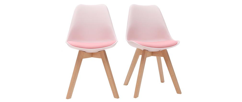 Sillas rosas con patas madera clara (lote de 2) PAULINE