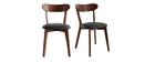 Sillas vintage madera oscura y asiento negro (lote de 2) DOVE