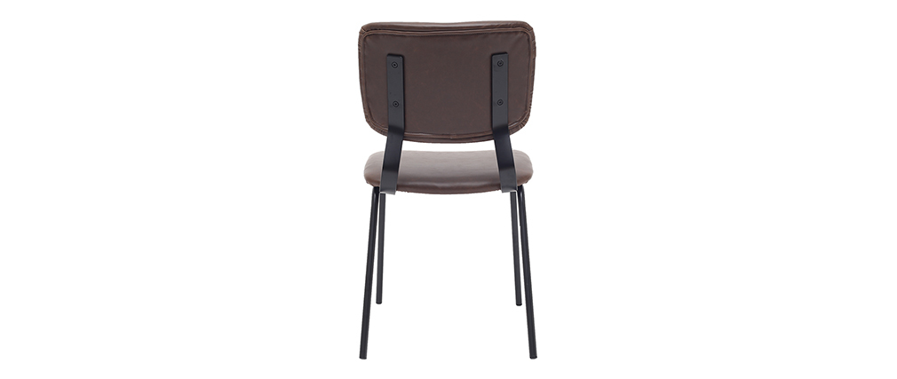 sillas vintage marrón oscuro con patas en metal (lote de 2) LAB