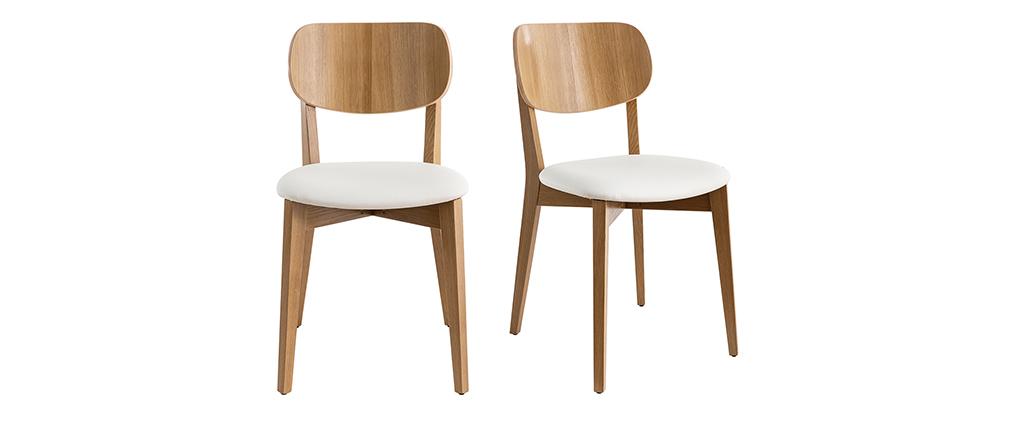 Sillas vintage roble y asiento blanco (lote de 2) LUCIA