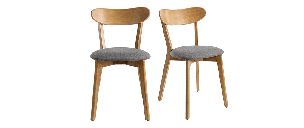 Sillas vintage roble y asiento gris (lote de 2) DOVE