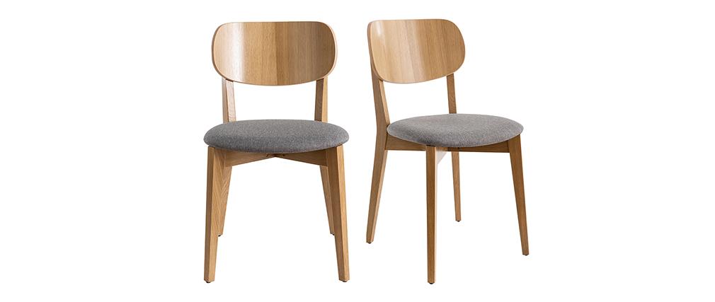 Sillas vintage roble y asiento gris jaspeado (lote de 2) LUCIA