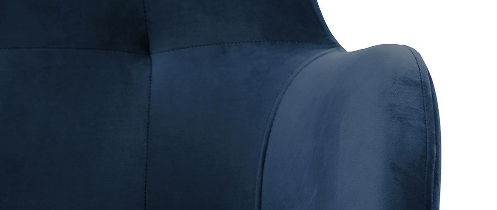 Sillón capitoné terciopelo azul marino y madera LEONIE