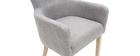 Sillón clásico tejido gris clásico patas madera clara LAZARRE