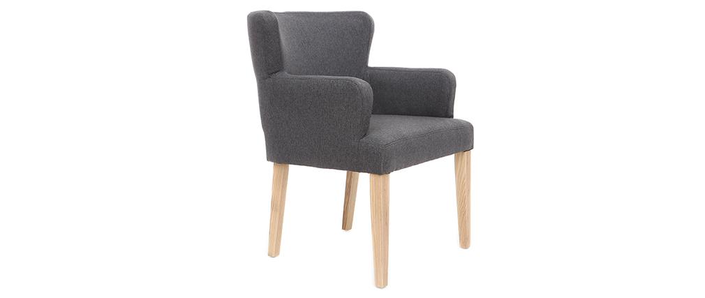 Sillón clásico tejido gris oscuro patas madera clara RODIN