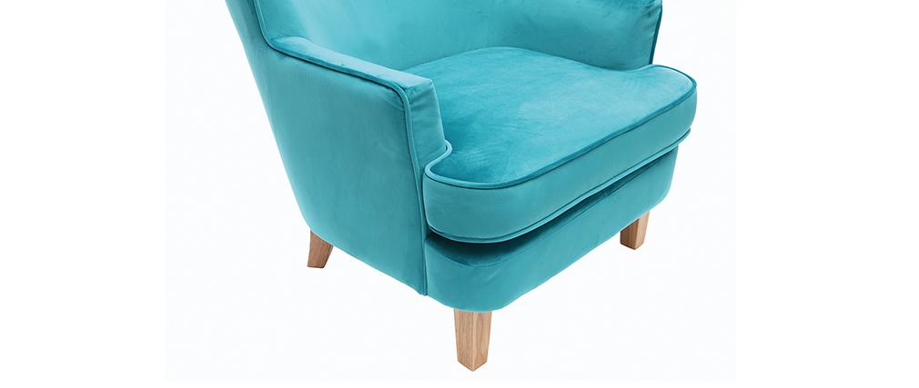 Sillón clásico terciopelo azul petróleo CEZANNE