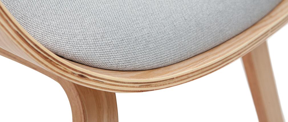 Sillón con reposapiés tejido gris claro y madera VIVI