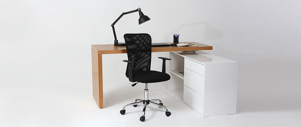 Sillón de despacho diseño malla negra PLUZ