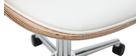 Sillón de escritorio blanco y madera clara GLORY
