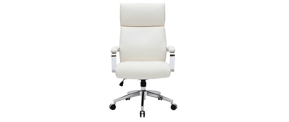 Sillón de escritorio cuero blanco CITY - cuero de vaca