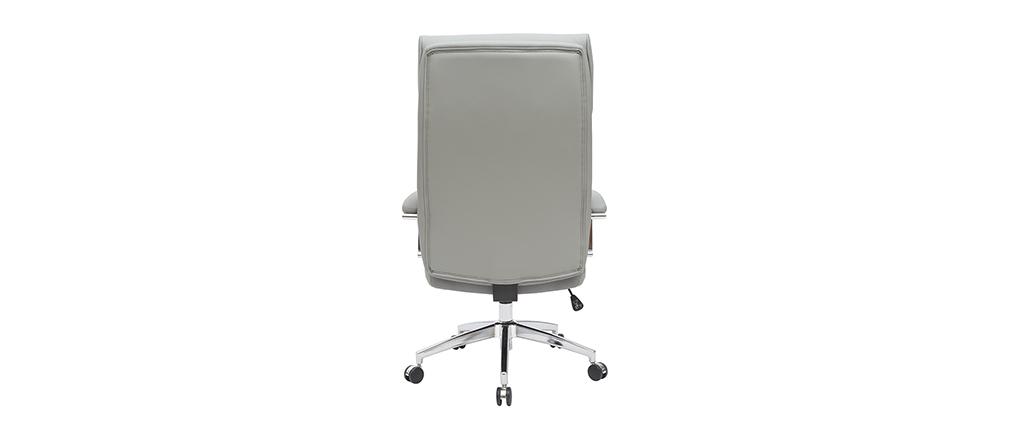 Sillón de escritorio cuero gris CITY - cuero de vaca