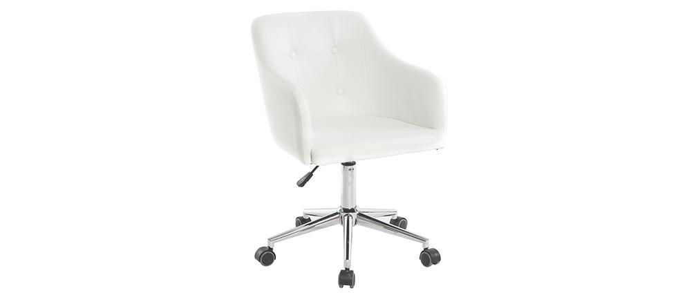 Sillón de escritorio diseño PU blanco BALTIK