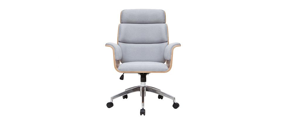 Sillón de escritorio en tejido gris y madera clara ELON