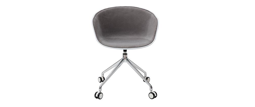 Sillón de escritorio moderno blanco y tejido gris claro SCAFO