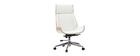 Sillón de escritorio moderno madera clara y blanca CURVED