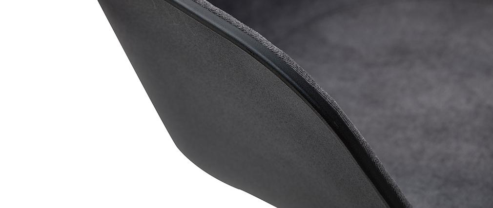 Sillón de escritorio moderno negro y tejido gris oscuro SCAFO