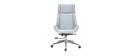 Sillón de escritorio moderno tejido gris y madera clara CURVED