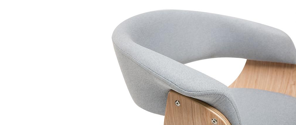 Sillón de escritorio moderno tejido gris y madera clara OKTAV