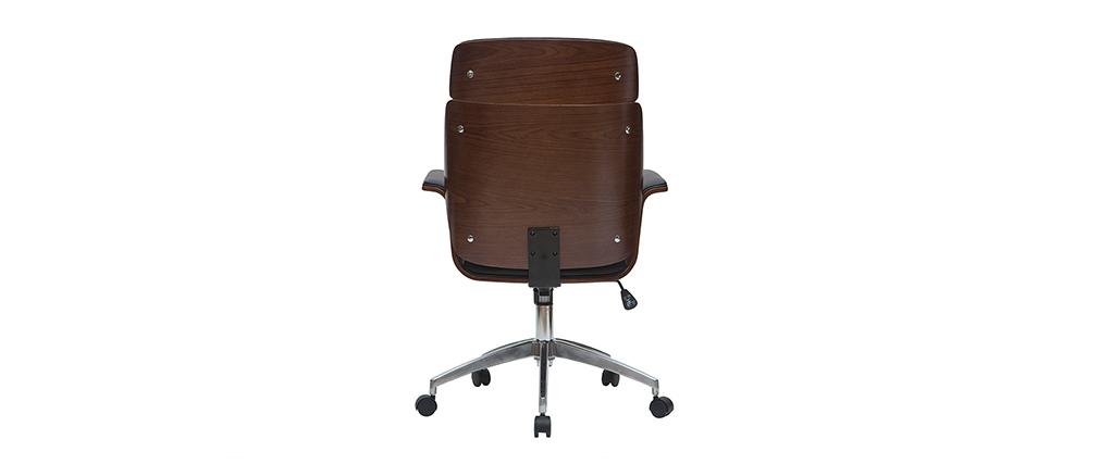 Sillón de escritorio negro y madera oscura ELON