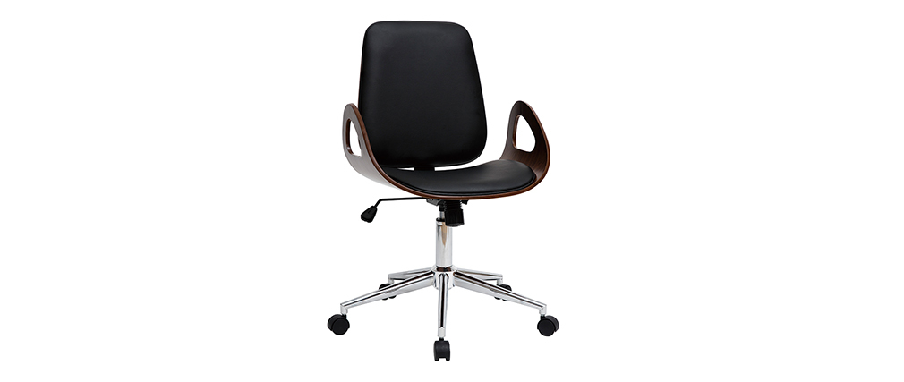 Sillón de escritorio vintage negro y madera oscura GLORY