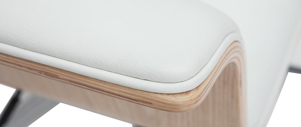 Sillón de oficina blanco y madera clara ELON