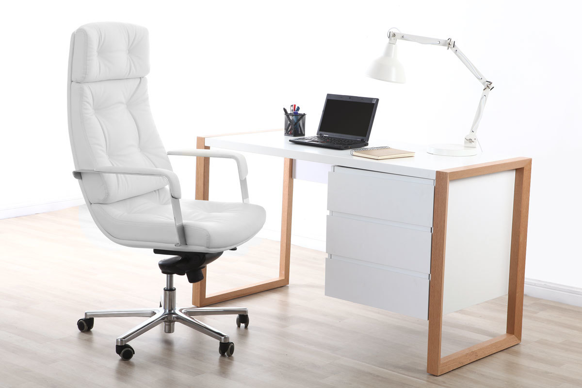 Sillón de oficina cuero blanco ADAGIO