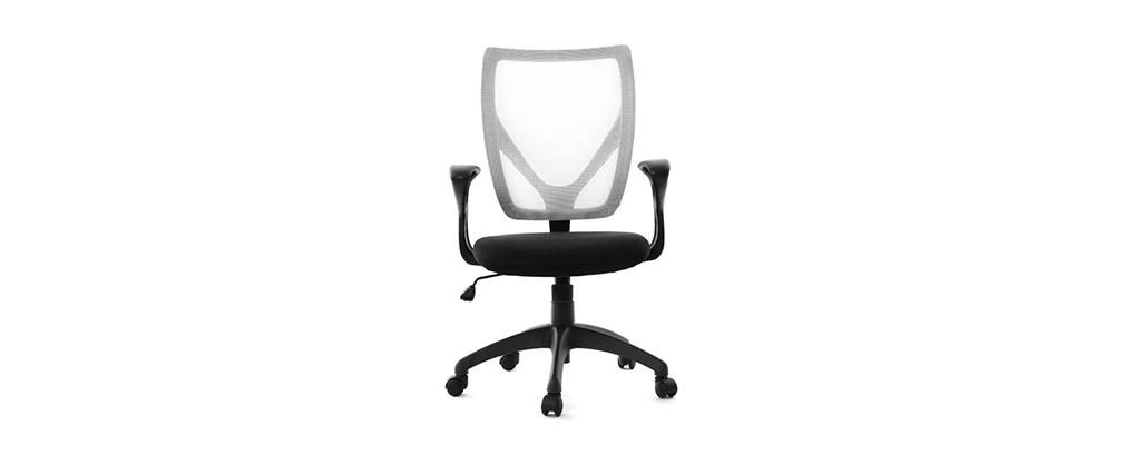 Sillón de oficina de diseño blanco y negro PAOLO