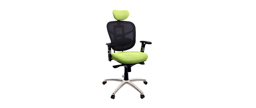 Sillón de oficina ergonomico verde anis y negro UP TO YOU