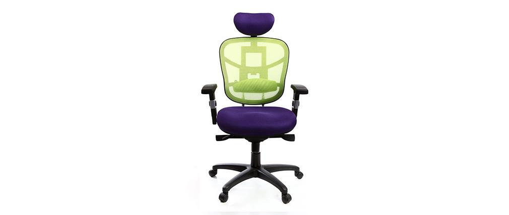 Sillón de oficina ergonomico violeta y verde anis UP TO YOU