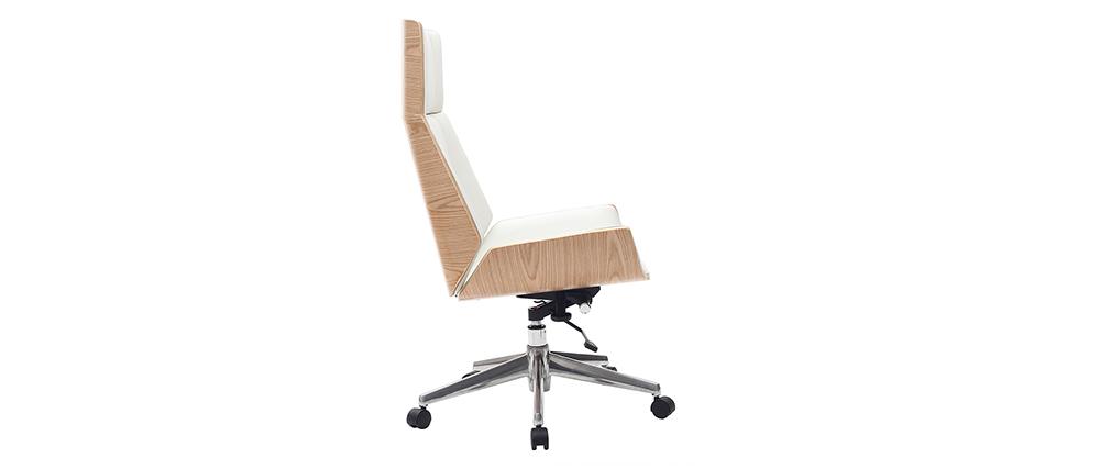 Sillón de oficina moderna madera clara y blanca CURVED