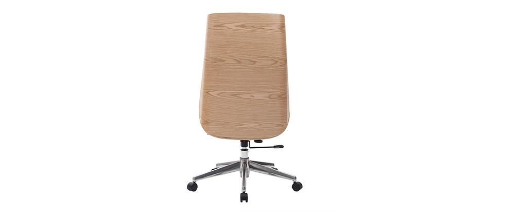 Sillón de oficina moderno madera clara y blanca CURVED