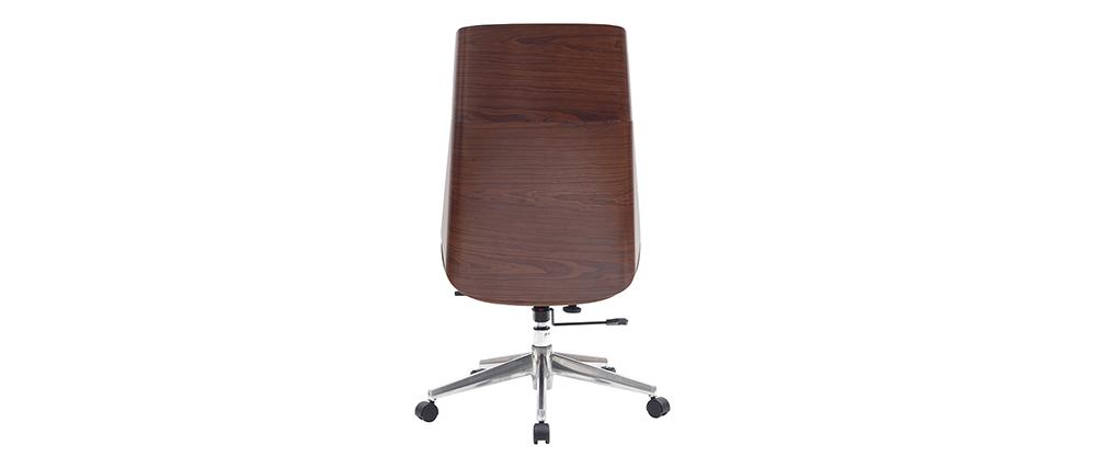 Sillón de oficina moderno madera oscura y negro CURVED