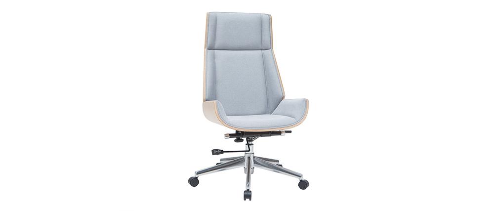 Sillón de oficina moderno tejido gris y madera clara CURVED