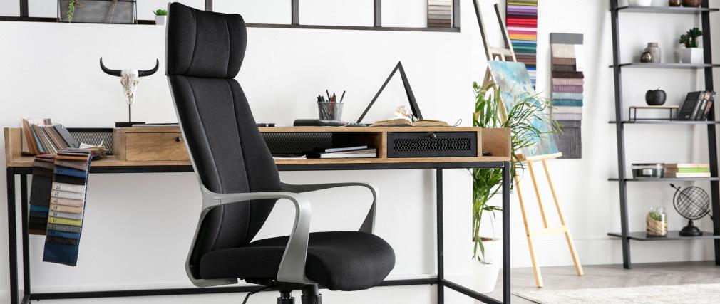 Sillón de oficina pivotante negro y gris POCUS