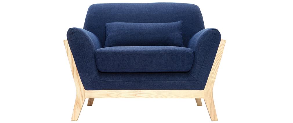 Sillón diseño azul oscuro patas madera YOKO