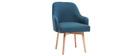 Sillón diseño azul patas madera clara MONA