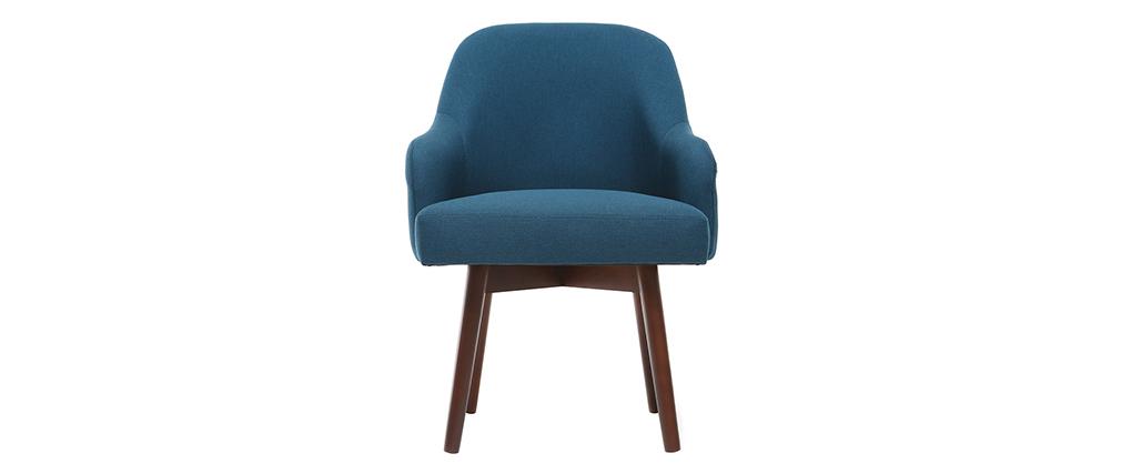 Sillón diseño azul patas madera oscura MONA