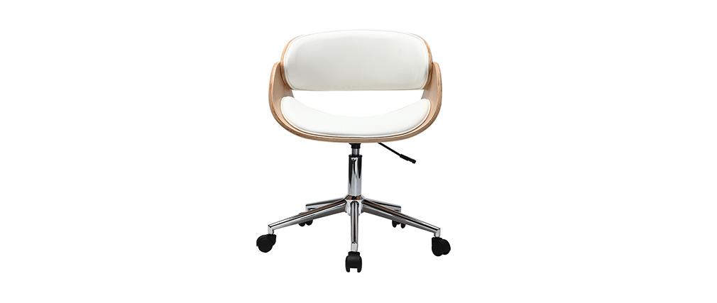Sillón diseño blanco y madera clara con ruedas BENT